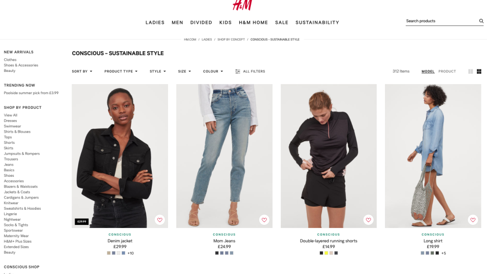 H&M's has launched an eco-friendly line but questions remain about whether a business founded on supplying cheap and fast clothes will ever be sustainble. Image: H&M