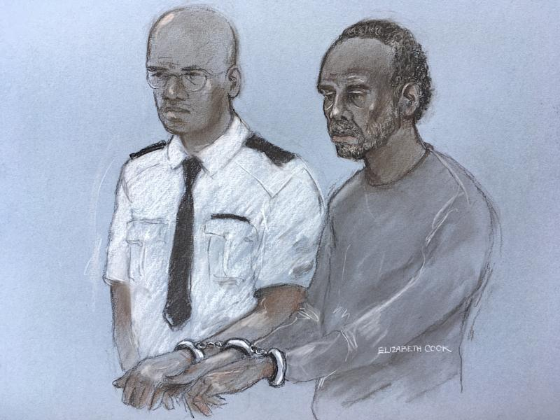 Court artist sketch by Elizabeth Cook of Muhammad Rodwan, 56, appearing at Thames Magistrates' Court charged with the attempted murder of Pc Stuart Outten, 28, and possession of an offensive weapon following an incident in Leyton, east London, just after midnight on Thursday.