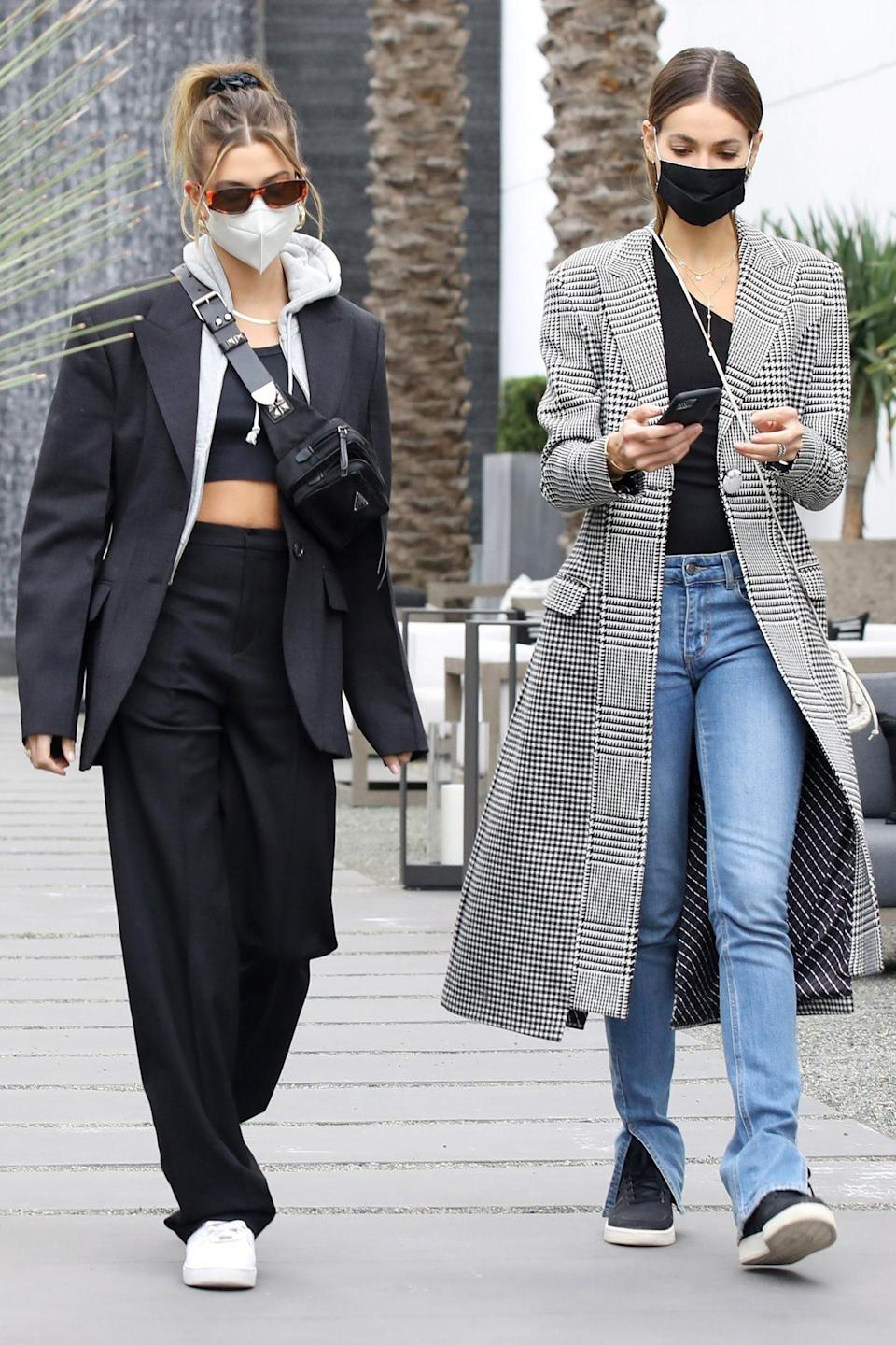 <p>Hailey Bieber and model pal Sara Sampaio go shopping together in West Hollywood on Thursday.</p>