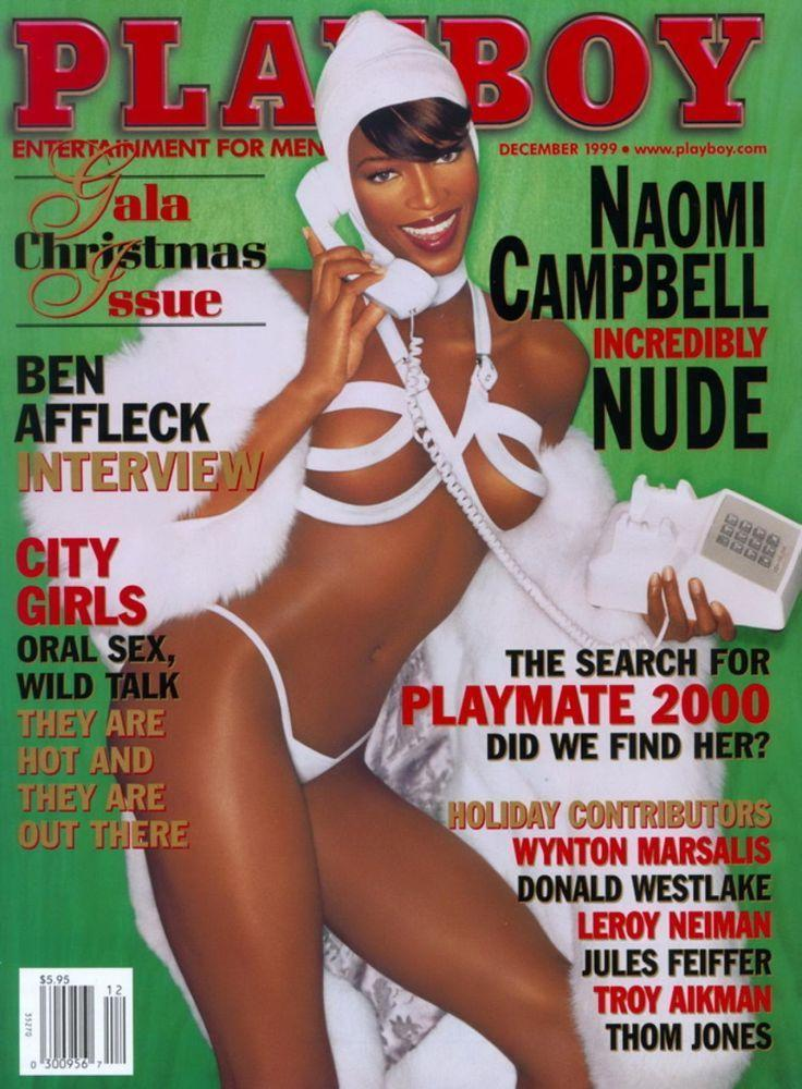 <p><strong>Issue: </strong>December 1999</p><p>Naomi Campbell was a barely-wrapped gift to the world on the December 1999 cover of <em>Playboy</em>. </p>