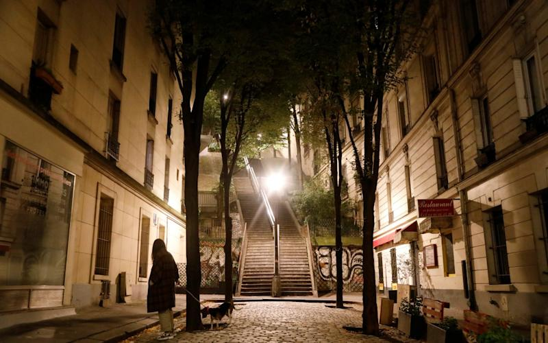 A woman walks her dog in Montmartre during the late-night curfew - REUTERS/Charles Platiau