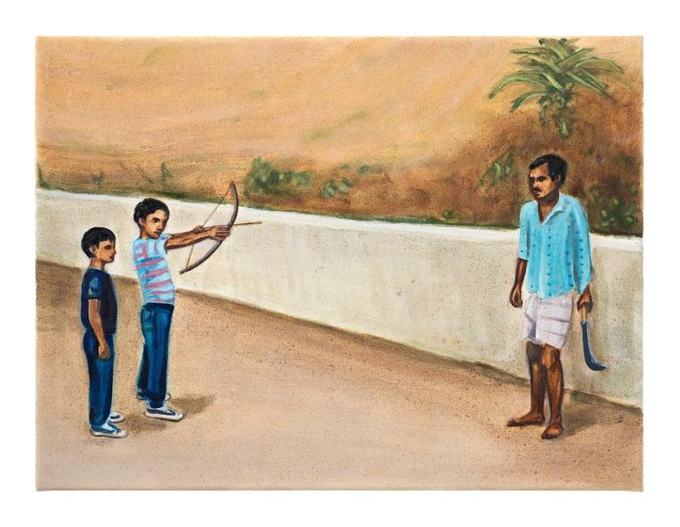 Weapons by Matthew Krishanu, 2021, oil on canvas, 45x60cm (Courtesy of the artist and Jhaveri Contemporary. Photo: Peter Mallet)