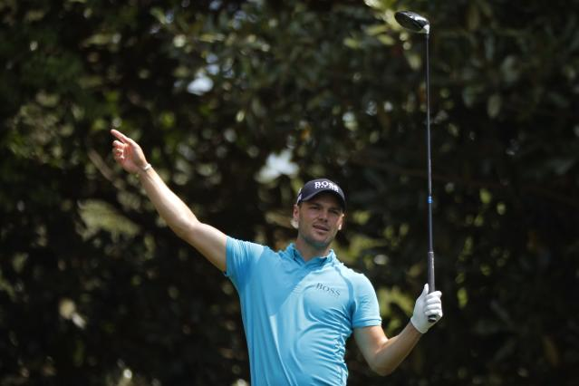 Martin Kaymer of Germany reacts after his tee shot on the 11th hole during the second day of practice for the 2018 Masters golf tournament at Augusta National Golf Club in Augusta, Georgia, U.S. April 3, 2018. REUTERS/Brian Snyder
