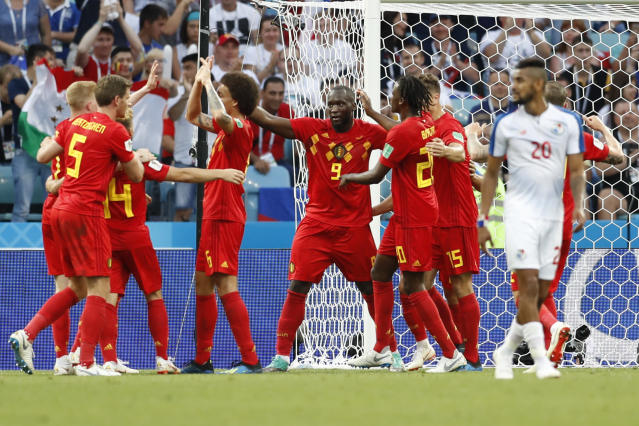 Belgium's Romelu Lukaku, center, celebrates with teammates after scoring during the group G match between Belgium and Panama at the 2018 soccer World Cup in the Fisht Stadium in Sochi, Russia, Monday, June 18, 2018. (AP Photo/Antonio Calanni)