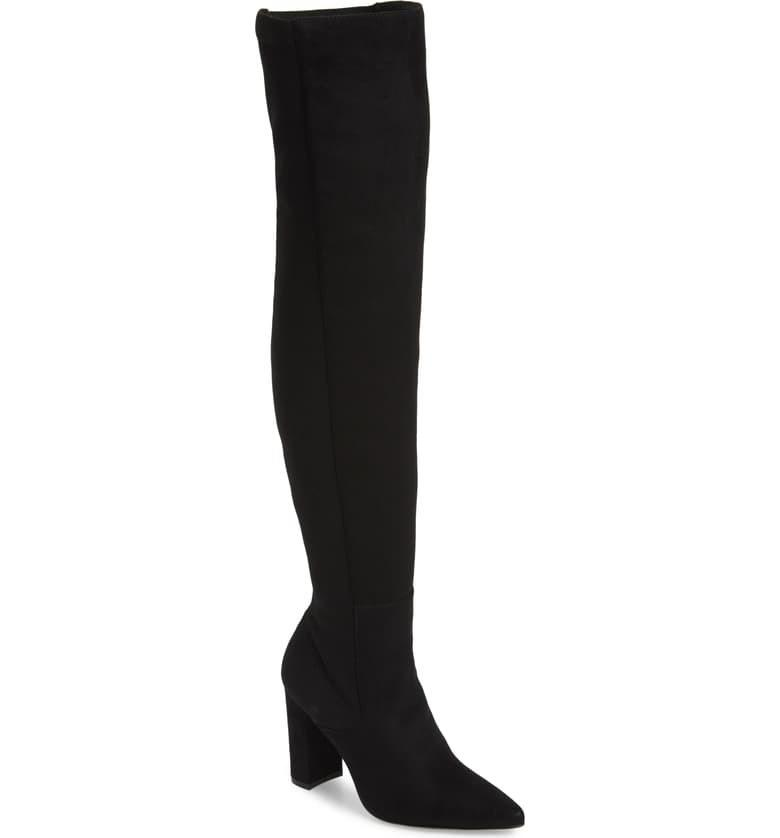 """$129.95, Nordstrom. <a href=""""https://shop.nordstrom.com/s/steve-madden-everly-over-the-knee-boot-women/5263746?origin=keywordsearch-personalizedsort&breadcrumb=Home%2FAll%20Results&color=black"""">Get it now!</a>"""