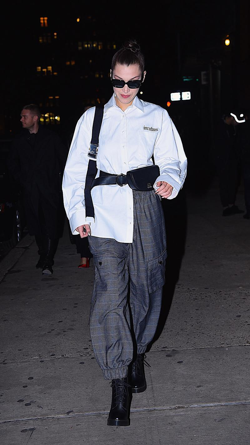 Bella Hadid out and about in Manhattan on Nov. 8. (Robert Kamau via Getty Images)