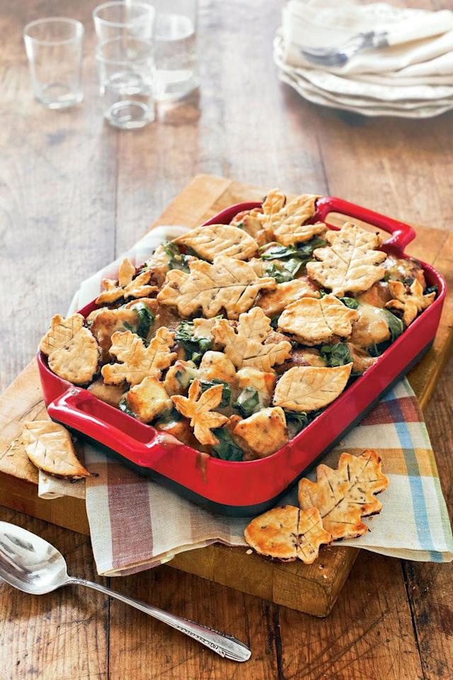 """<p><strong>Recipe: <a href=""""https://www.southernliving.com/recipes/easy-turkey-pot-pie"""">Turkey Pot Pie With Cranberry-Pecan Crusts</a></strong></p> <p>This casserole may just be as stunning as yesterday's turkey centerpiece. Cut your cranberry-pecan pastry into festive leaf shapes for an extra-seasonal dish.</p>"""