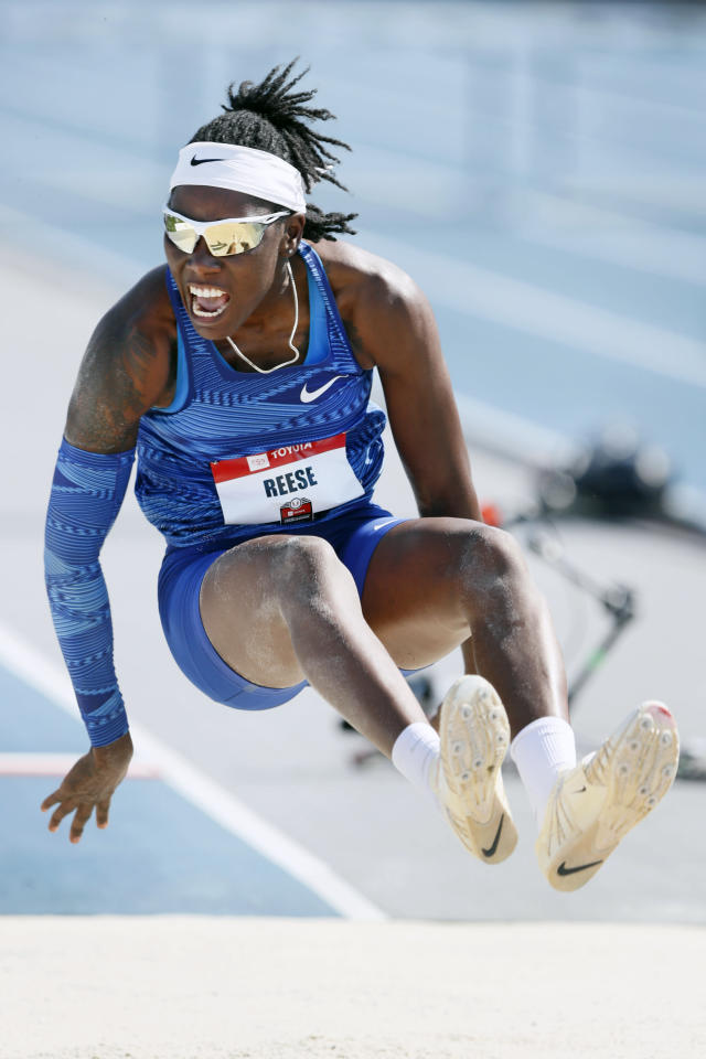 Brittney Reese leaps to the pit during the women's long jump at the U.S. Championships athletics meet, Saturday, July 27, 2019, in Des Moines, Iowa. (AP Photo/Charlie Neibergall)