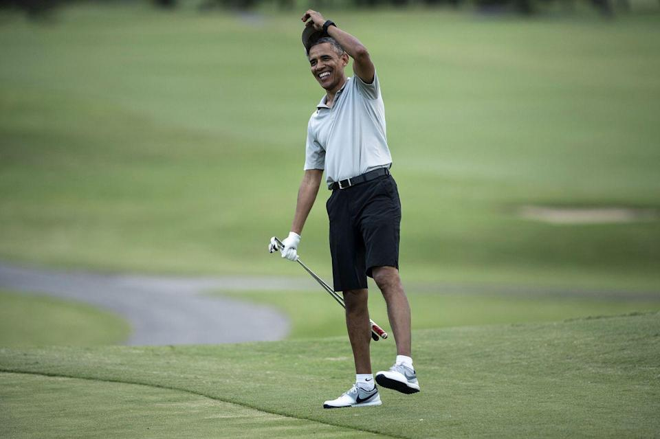 <p>Barack Obama golfs in Kailua, Hawaii during a Christmas vacation in 2015.</p>