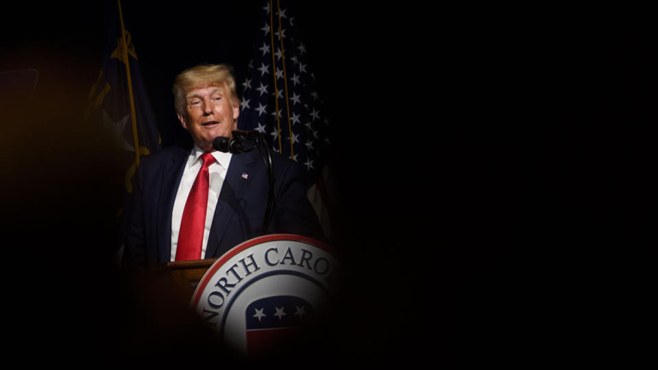 Former U.S. President Donald Trump addresses the NCGOP state convention on June 5, 2021 in Greenville, North Carolina. (Melissa Sue Gerrits/Getty Images)