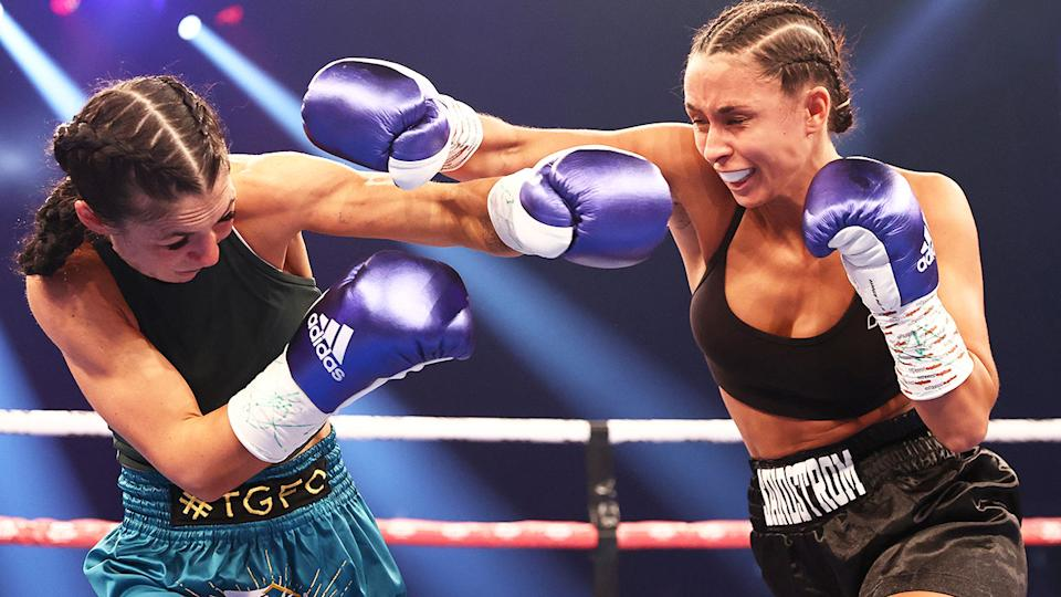 Felicity Loiterton and Linn Sandstrom, pictured here competing in their super flyweight fight.