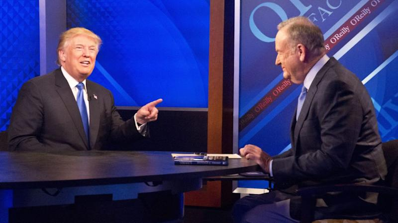 Trump talks to (now fired) Fox News anchor Bill O'Reilly on the campaign trail in 2016.