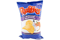 """<p>This Canadian classic goes <a href=""""https://www.delish.com/food-news/a43953/ruffles-all-dressed-up-american-debut/"""" rel=""""nofollow noopener"""" target=""""_blank"""" data-ylk=""""slk:all-in on the flavor"""" class=""""link rapid-noclick-resp"""">all-in on the flavor</a>. Think about combining BBQ, sour cream and cheddar, and salt and vinegar all together as one, and you'll understand why these beloved chips take your taste buds on a wild ride.</p>"""