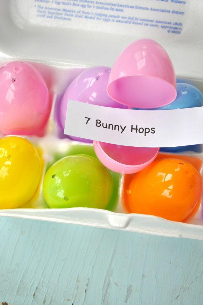 "<p>Fill leftover plastic eggs with activities and physical challenges for little ones to complete.</p><p><strong>Get the tutorial at <a href=""https://www.theseasonedmom.com/easter-activity-for-kids-easter-eggs-ercises/"" rel=""nofollow noopener"" target=""_blank"" data-ylk=""slk:The Seasoned Mom"" class=""link rapid-noclick-resp"">The Seasoned Mom</a>.</strong></p>"