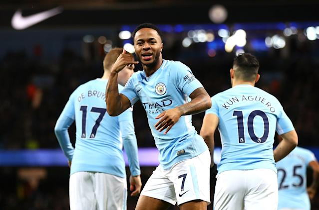 Raheem Sterling was one of several players that made Manchester City unplayable at times during its Premier League title-winning campaign. (Getty)