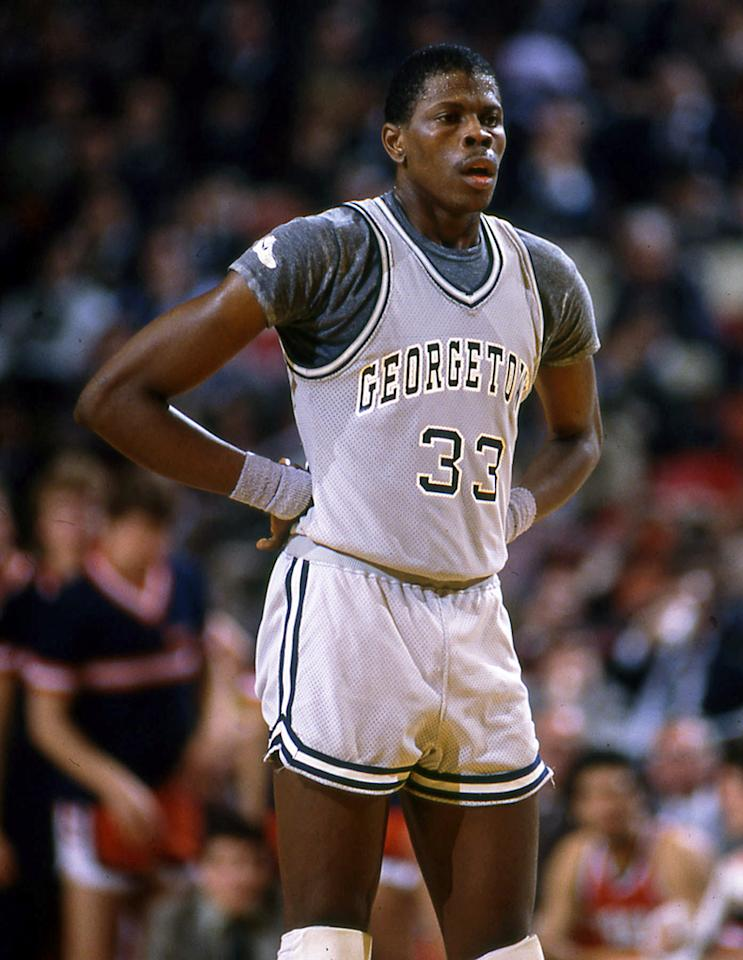 Patrick Ewing, #33 center of the Georgetown University Hoyas men's basketball team stands on the court during a game at McDonough Arena in Washington, D.C. (Photo by Georgetown University/Collegiate Images/Getty Images)