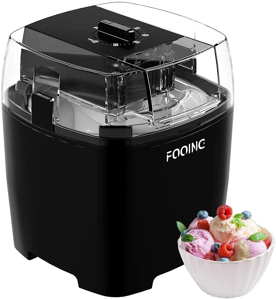 <p>Cool off with yummy homemade ice cream with the <span>Fooing Countertop Homemade Ice Cream Maker 1.5 Quart</span> ($50). The flavors and combinations are endless!</p>