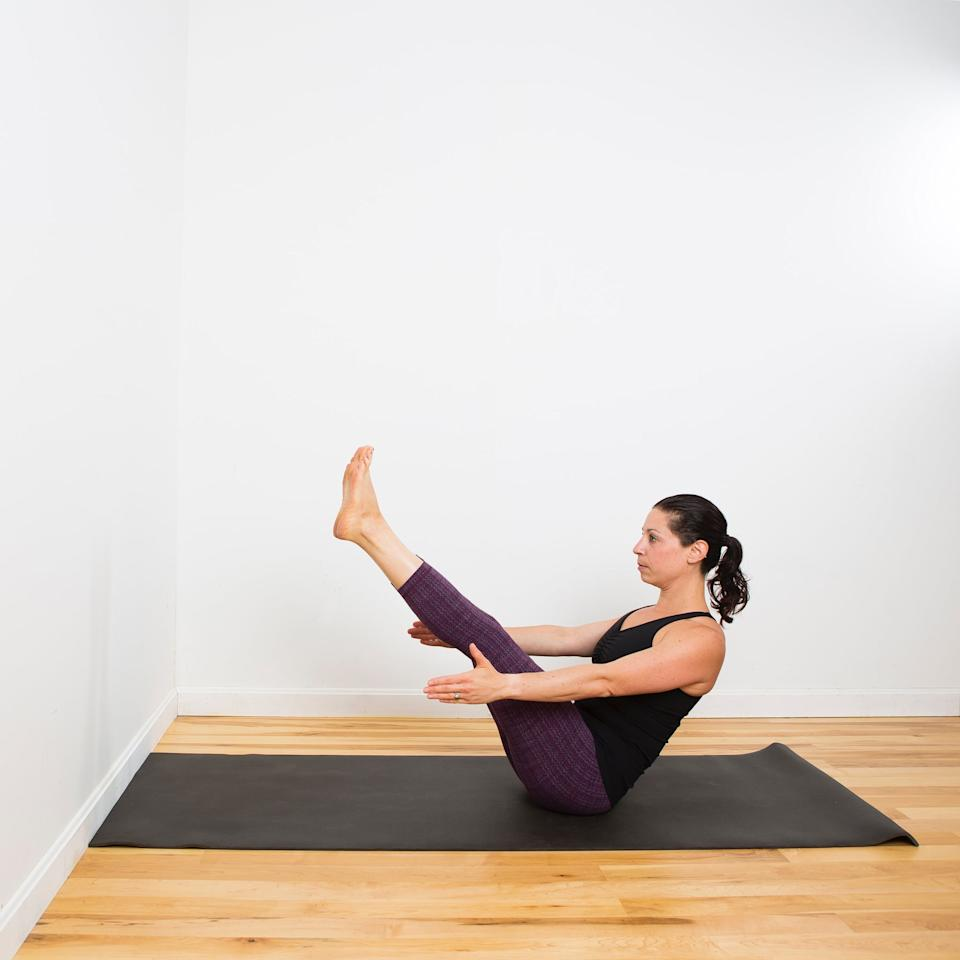 <p><strong>How this pose helps:</strong> strengthens core and improves balance</p> <ul> <li>Sit on the floor with your legs in front of you. Bend your knees, and lift your legs off the floor, bringing your knees in toward your chest with your shins parallel to the floor. </li> <li>Sit up as tall as you can, and take a breath in as you slowly begin to straighten your legs. </li> <li>Your legs don't need to be straight since the action of keeping your spine long and drawing your belly in is what works your abs here.</li> <li>Hold Boat pose for five breaths.</li> </ul>