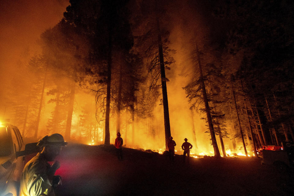 Firefighters monitor a firing operation, where crews set ground fire to stop a wildfire from spreading, while battling the Dixie Fire in Lassen National Forest, Calif., on Monday, July 26, 2021. (AP Photo/Noah Berger)