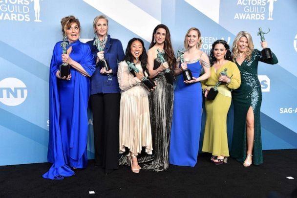PHOTO: Cast members from 'The Marvelous Mrs. Maisel' pose in the press room with the trophy for Outstanding Performance by an Ensemble in a Comedy Series during the 26th Annual Screen Actors Guild Awards at The Shrine Auditorium in Los Angeles. (Gregg Deguire/Getty Images for Turner, FILE)