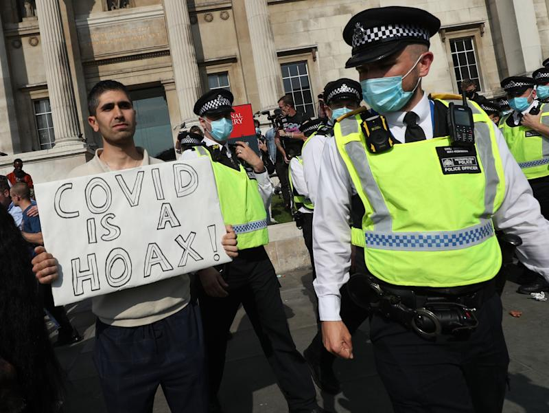 An anti-lockdown protest in London's Trafalgar Square on 19 SeptemberYui Mok/PA Wire