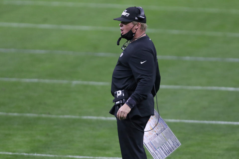 Las Vegas Raiders head coach Jon Gruden made a big change to his defensive staff after a loss to the Colts. (AP Photo/Isaac Brekken)