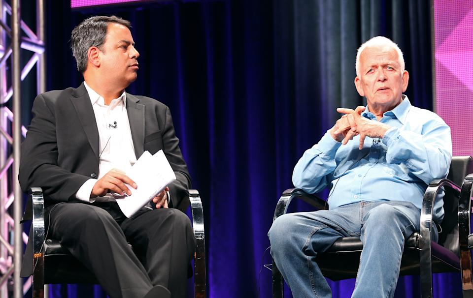 """BEVERLY HILLS, CA - JULY 09:  BBC America Senior Vice President of Programming Richard De Croce (L) and writer Andrew Davies speak onstage at the """"A Poet in New York"""" panel during the BBC America portion of the 2014 Summer Television Critics Association at The Beverly Hilton Hotel on July 9, 2014 in Beverly Hills, California.  (Photo by Frederick M. Brown/Getty Images)"""