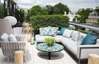 "<p>Try segmenting your roof with tall bushes to make efficient use out of the space and separate the dining area from the lounge seating.</p><p><em>Design by </em><a href=""http://designers.elledecor.com/interior-designers/carden-cunietti"" rel=""nofollow noopener"" target=""_blank"" data-ylk=""slk:Carden Cunietti"" class=""link rapid-noclick-resp""><em>Carden Cunietti</em></a></p>"
