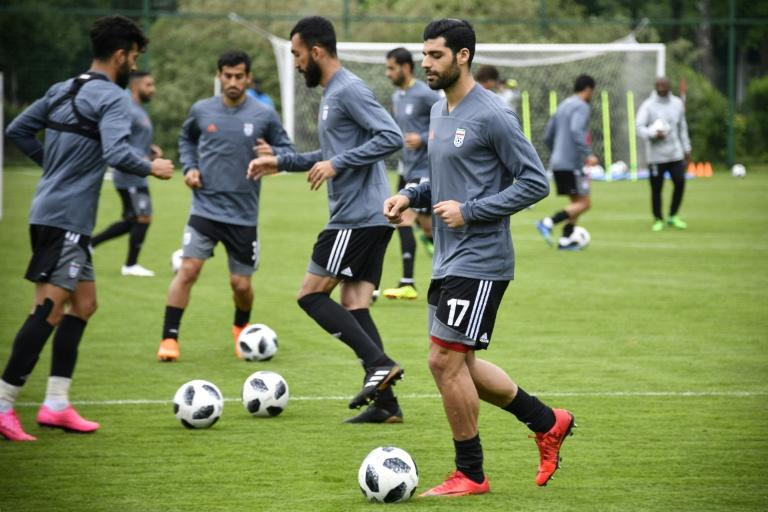 Iran's players attend a training session in Bakovka outside Moscow on June 12, ahead of the Russia 2018 World Cup football tournament