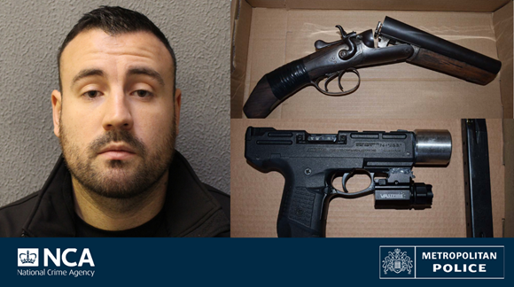<p>Darren Dixon and some of the weapons seized in his home</p> (Met Police)