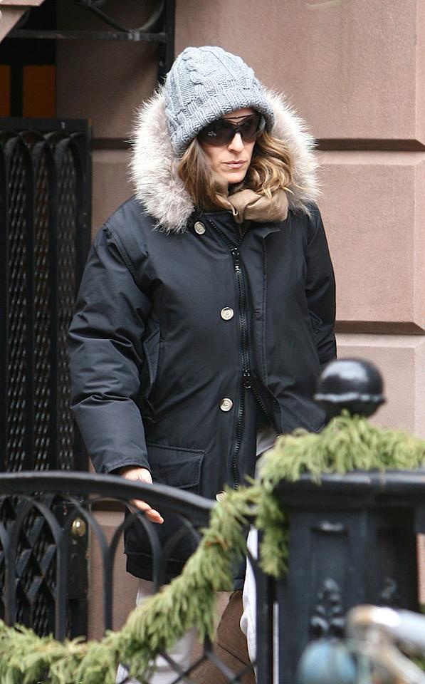 """A barely recognizable Sarah Jessica Parker bundled up in Manhattan. On Thursday, Variety confirmed that she and her """"Sex and the City"""" costars are officially on board for the film's sequel. Thornton/Sean/<a href=""""http://www.infdaily.com"""" target=""""new"""">INFDaily.com</a> - February 6, 2009"""