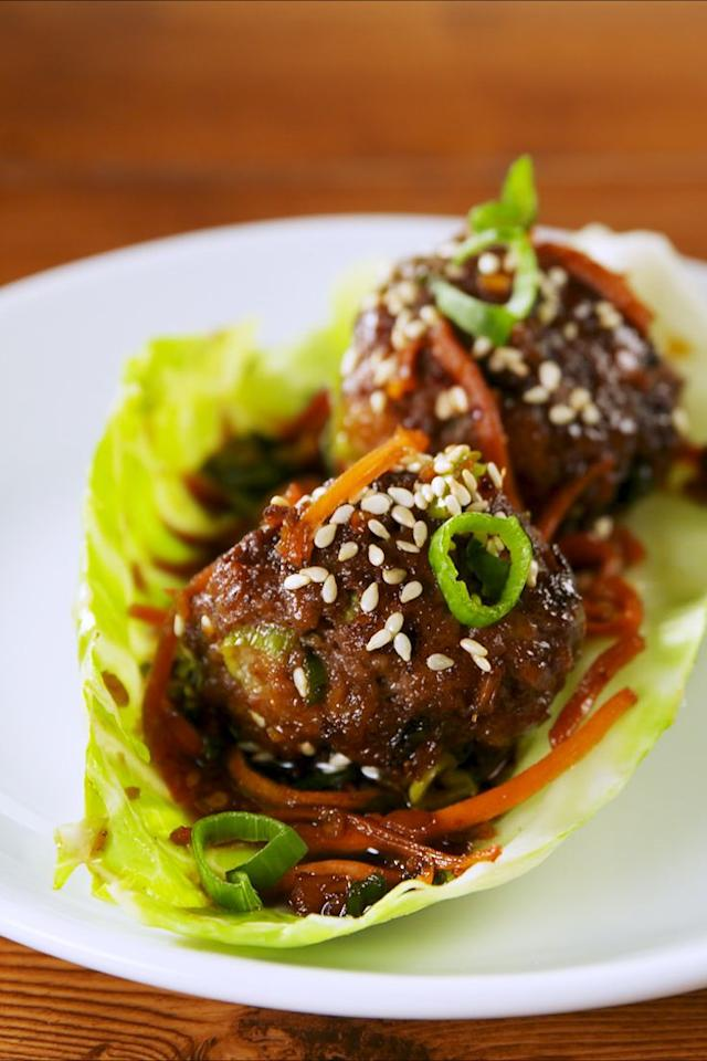 "<p>The low-carb way to enjoy our Mongolian Meatballs. </p><p>Get the recipe from <a href=""https://www.delish.com/cooking/recipe-ideas/a22667244/mongolian-meatball-cabbage-cups-recipe/"" target=""_blank"">Delish</a>. </p>"