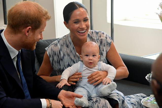 Harry, Meghan and Archie meet Archbishop Desmond Tutu on their first tour as a family. (Getty Images)