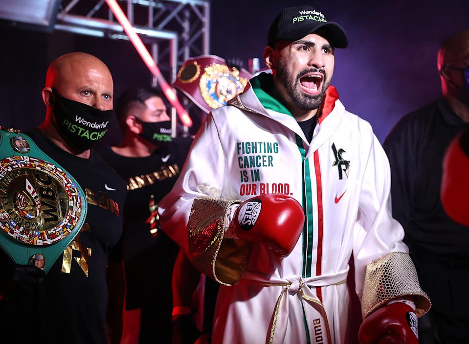 Jose Ramirez walks to the ring before facing Viktor Postol in a title bout on Sept. 05, 2020. (Mikey Williams/Top Rank via Getty Images)