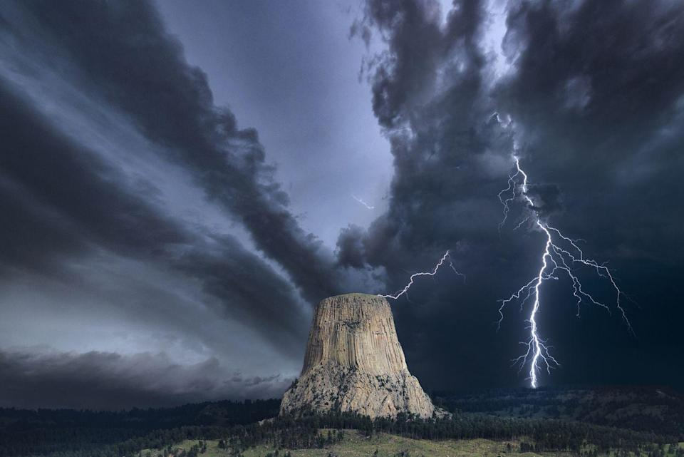 """<p>The unique <a href=""""https://www.onlyinyourstate.com/wyoming/urban-legends-in-wy/"""" rel=""""nofollow noopener"""" target=""""_blank"""" data-ylk=""""slk:national monument"""" class=""""link rapid-noclick-resp"""">national monument</a> is connected to many different legends. Some say that the impressive geological wonder, which stands at over 5,000 feet tall in the Black Hills, was forged by a great spirit looking to protect a group of young girls that were being chased by giant bears. </p>"""