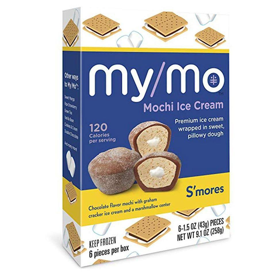 """<p><strong>My/Mo Mochi Ice Cream</strong></p><p>amazon.com</p><p><a href=""""http://www.amazon.com/dp/B07MX71FDR/?tag=syn-yahoo-20&ascsubtag=%5Bartid%7C1782.g.28638254%5Bsrc%7Cyahoo-us"""" rel=""""nofollow noopener"""" target=""""_blank"""" data-ylk=""""slk:BUY NOW"""" class=""""link rapid-noclick-resp"""">BUY NOW</a></p><p>You may have had mochi before, but not like this. My/Mo takes the frozen treat to the next level with flavors that have creamy centers like s'mores. The individual pieces also make it easier not to indulge too much at snack time—score!</p>"""