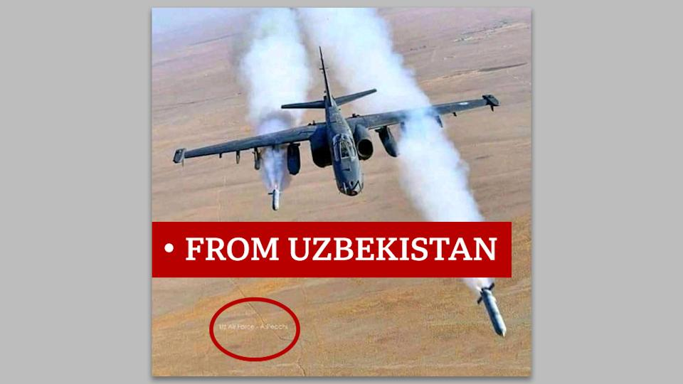 "Picture of military plane labelled ""from Uzbekistan"""