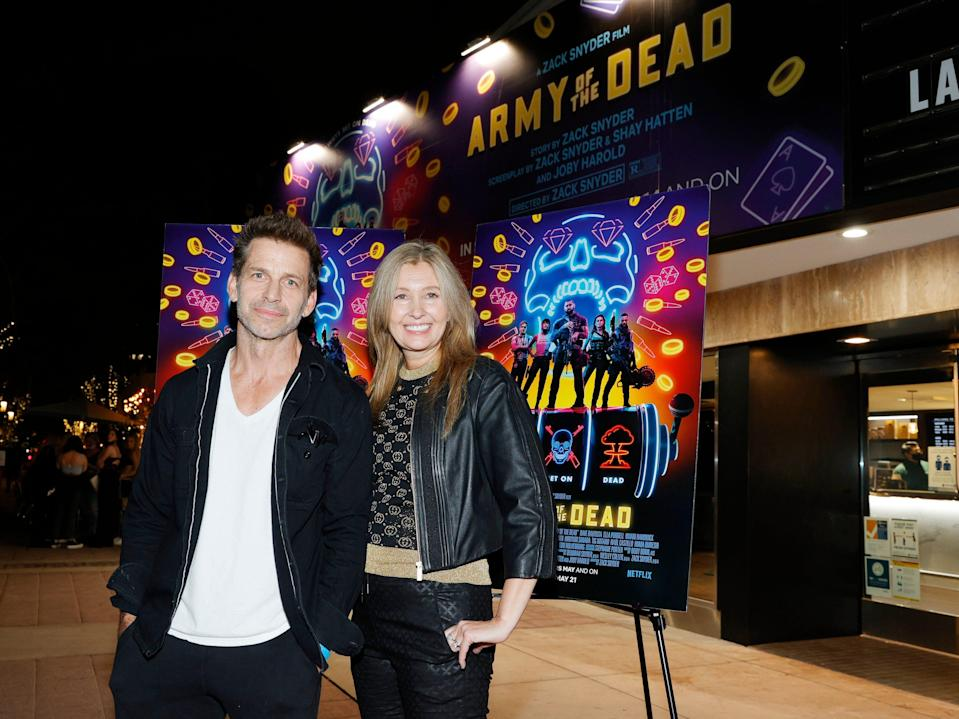 Director Zack Snyder (L) and producer Deborah Snyder (R) attend the grand reopening of the newly renovated Landmark Theatre Westwood in May 2021.