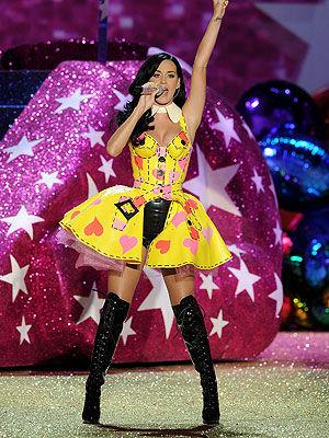 <p>In a yellow, strapless bustier dress and thigh-high boots Katy Perry rocked the runway.</p>