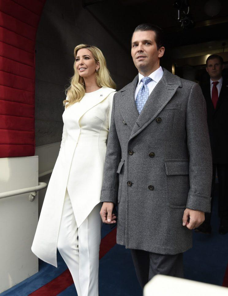 Ivanka Trump with her husband Jared Kushner at her father's swearing in ceremony. (Photo: AP)