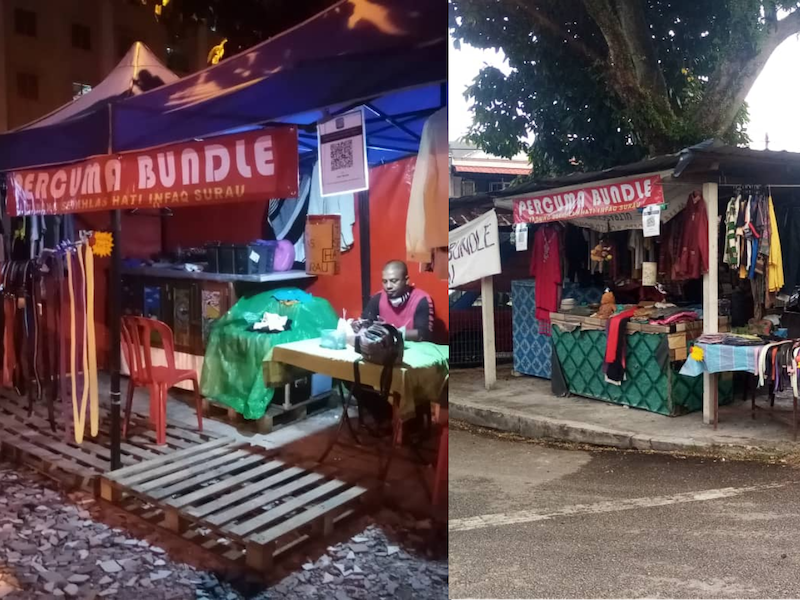 Japeridin and his friends first started 'Bundle Percuma' by opening up a booth at their block's lobby which has led them to opening up tents before renting the kiosks in front of the Taman Medan Cahaya's Surau. — Picture courtesy of Japeridin Sampol