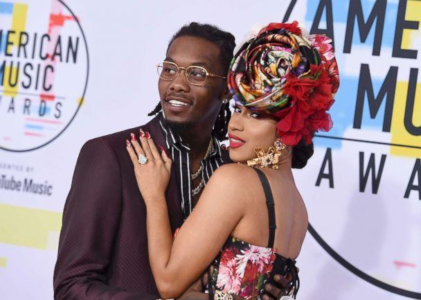 PHOTO: Offset and Cardi B arrive at the American Music Awards on Oct. 9, 2018, at the Microsoft Theater in Los Angeles. (Jordan Strauss/Invision/AP)