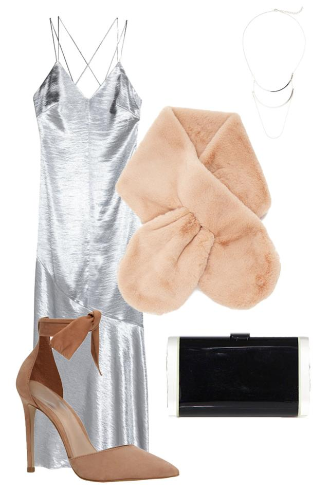 "<p>Faux-fur wraps and ankle-tie heels feel super glamorous next to anything metallic, but work well with casual denim post-NYE.</p><p><em>H&M Dress, $20, <a rel=""nofollow"" href=""http://www.hm.com/us/product/56858?article=56858-A"">hm.com</a>; Forever 21 Scarf, $10, <a rel=""nofollow"" href=""http://www.forever21.com/Product/Product.aspx?br=F21&category=ACC&productid=1000231721"">forever21.com</a>;  </em><span><em>Old Navy Necklace, $4, <a rel=""nofollow"" href=""http://oldnavy.gap.com/browse/product.do?cid=1066127&vid=1&pid=342514002"">oldnavy.com</a>; Edie Parker Clutch, $995, <a rel=""nofollow"" href=""http://www.saksfifthavenue.com/main/ProductDetail.jsp?PRODUCT%3C%3Eprd_id=845524446827124&site_refer=AFF001&mid=13816&siteID=J84DHJLQkR4-Wz6MWPOyHYHM1KR7Axp1gw&LSoid=462170&LSlinkid=15&LScreativeid=419656615399"">saks.com</a>; Aldo Heels, $100, <a rel=""nofollow"" href=""http://www.aldoshoes.com/us/en_US/Women/Shoes/High-Heels/c/112/States/p/47698004-35"">aldoshoes.com</a></em></span><br></p>"