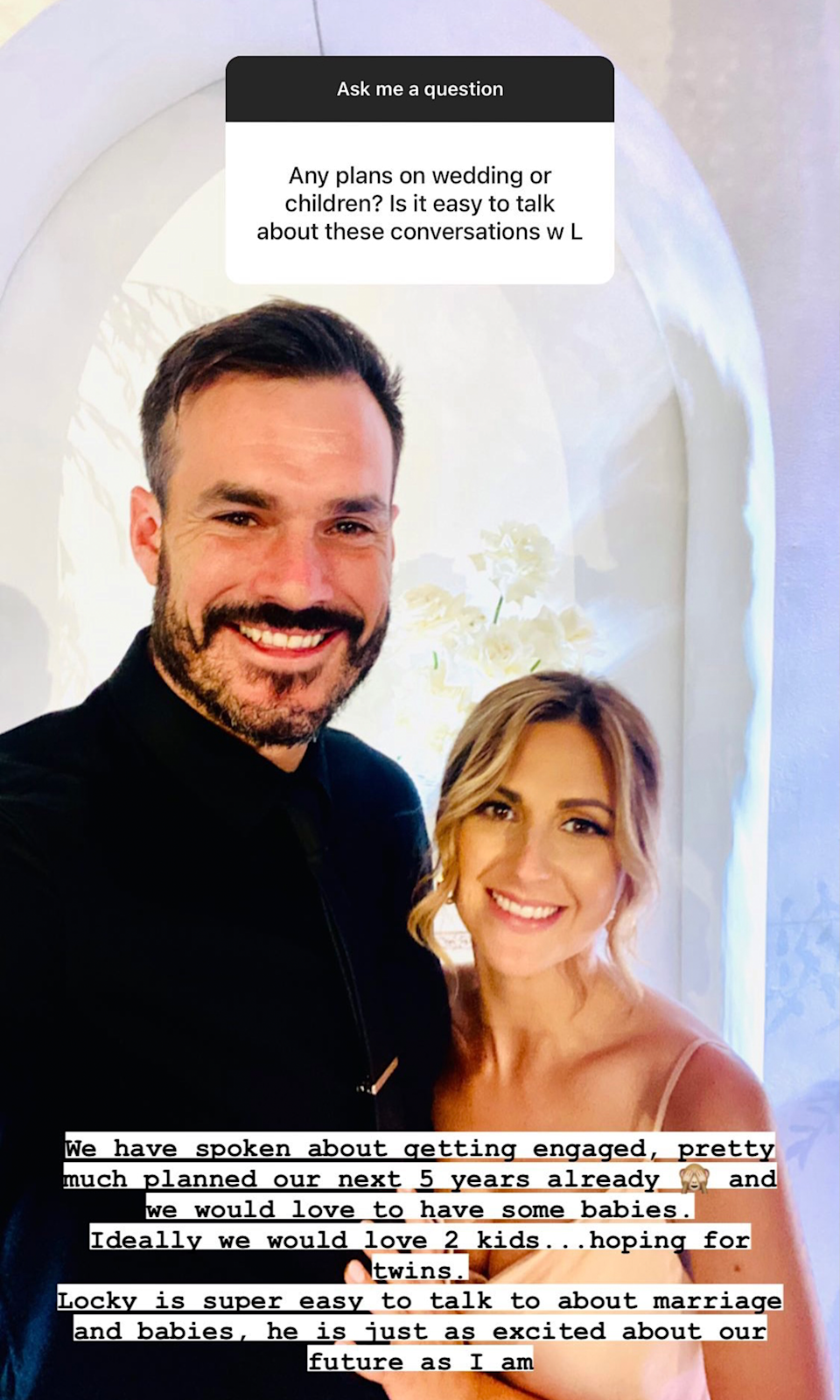 Bachelor's Irena posted a photo of her and Locky on her Instagram story saying that her and Locky have discussed engagement plans and 'would love to have some babies'.
