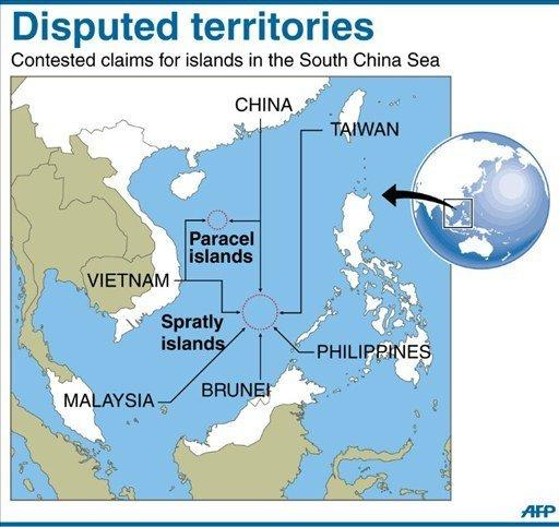 A map showing the disputed Paracel and Spratly islands in the South China Sea