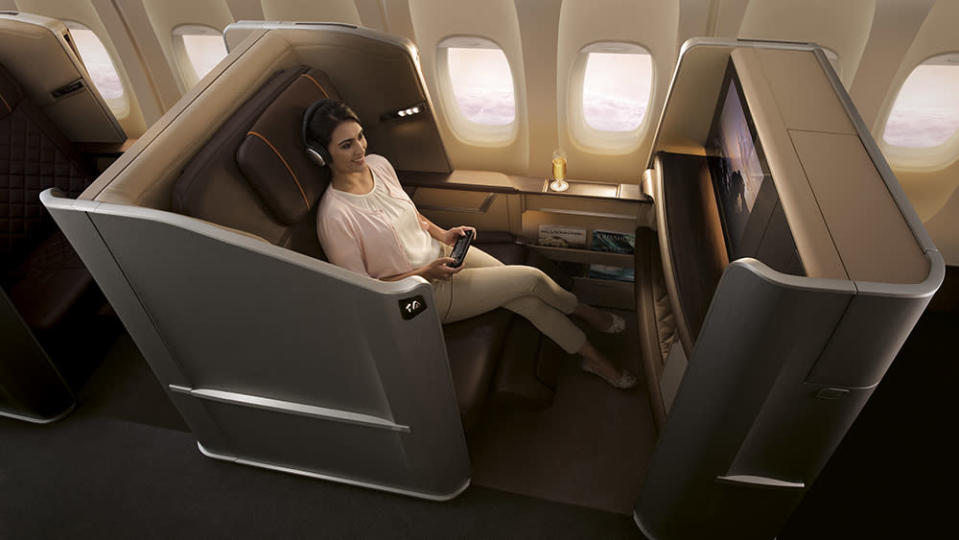 Singapore Airlines's private first-class pod. - Credit: Singapore Airlines