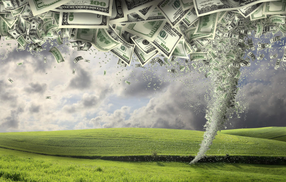 digitally generated image of money tornado.