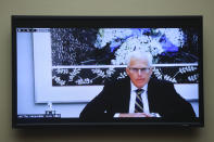 Former Acting U.S. Defense Secretary Christopher Miller testifies remotely during a House Oversight and Reform Committee regarding the on Jan. 6 attack on the U.S. Capitol, on Capitol Hill in Washington, Wednesday, May 12, 2021. (Jonathan Ernst/Pool via AP)