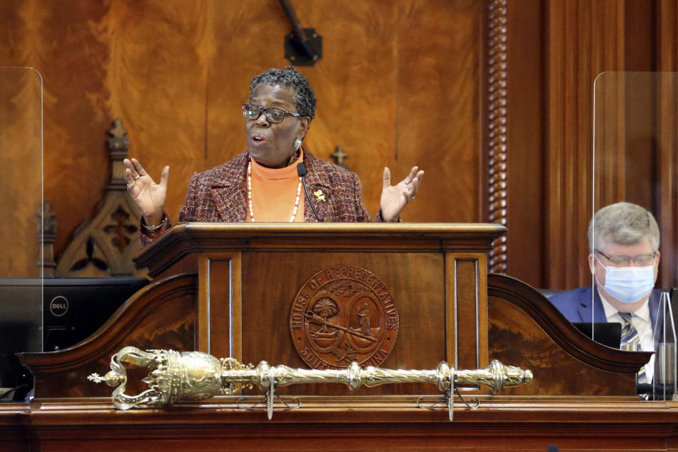 South Carolina's longest serving House member, state Rep. Gilda Cobb-Hunter, D-Orangeburg, presides over the House's organization session on Tuesday, Dec. 1, 2020, in Columbia, S.C. The House re-elected Speaker Jay Lucas to his leadership position. (AP Photo/Jeffrey Collins)