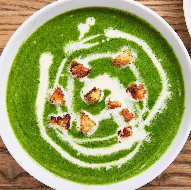 """<p>The crunchy croutons are 🙌</p><p>Get the <a href=""""https://www.delish.com/uk/cooking/recipes/a28784692/spinach-soup-recipe/"""" rel=""""nofollow noopener"""" target=""""_blank"""" data-ylk=""""slk:Creamy Spinach Soup"""" class=""""link rapid-noclick-resp"""">Creamy Spinach Soup</a> recipe.</p>"""